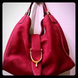 Authentic Gucci Red Suede Hobo Bag Great Condition